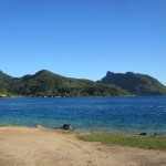 Southern part of Huahine from the port - locals (and tourists who get told) see a reclined woman (head on the right)