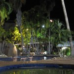 Relaxing dip into the pool under the stars...no sun protection required this time