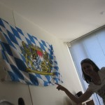 Of course, the Bavarian flag is always in the apartment, no matter where Harry lives...