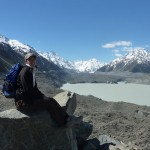Tasman Glacier (very grey = a lot of stones on the ice) with some giant ice cubes swimming in the glacer lake