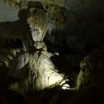 Giant united stalactites and stalagmites - who know which ones come from where?