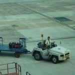 """Our bags unloaded after the """"private"""" plane back from Mulu"""