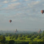 Bagan temples - ballons at sunrise