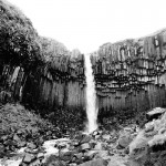 Svartifoss - black waterfall in black and white
