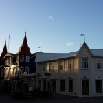 Sunset over the shopping street in Akureryi