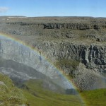 Rainbow over Dettifoss waterfall